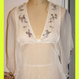 New LULUMARI Silk Ivory Flowy Sequin Top M/L 8-10